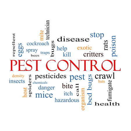 pests: Pest Control Word Cloud Concept with great terms such as bugs, poison, rates and more. Stock Photo