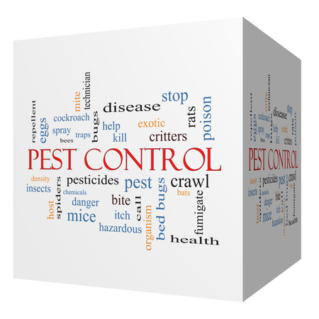 Pest Control 3D cube Word Cloud Concept with great terms such as bugs, poison, rates and more. photo