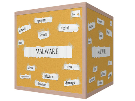 Malware 3D cube Corkboard Word Concept with great terms such as digital, attack, virus and more.