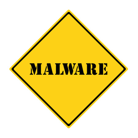 diamond shaped: A yellow and black diamond shaped road sign with the word MALWARE making a great concept.