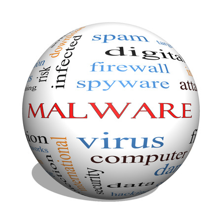 Malware 3D sphere Word Cloud Concept with great terms such as trojan, virus, infection and more.