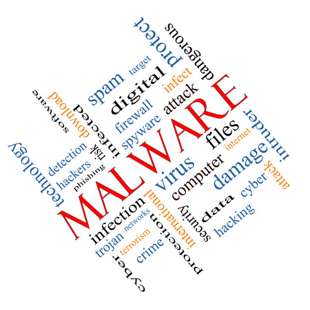 Malware Word Cloud Concept angled with great terms such as trojan, virus, infection and more.