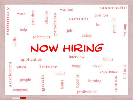 Now Hiring Word Cloud Concept on a Whiteboard with great terms such as resume, wage, hr and more. photo