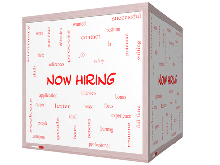 Now Hiring Word Cloud Concept on a 3D cube Whiteboard with great terms such as resume, wage, hr and more.