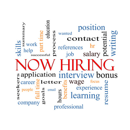 Now Hiring Word Cloud Concept with great terms such as resume, wage, hr and more. photo
