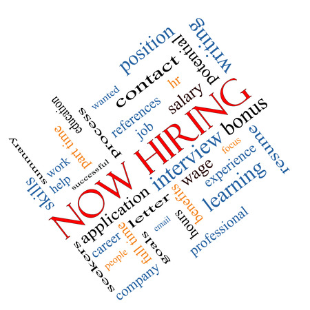 Now Hiring Word Cloud Concept angled with great terms such as resume, wage, hr and more. photo