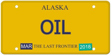 Een imitatie Alaska kenteken met het woord olie en de Last Frontier het maken van een geweldig concept. Stockfoto