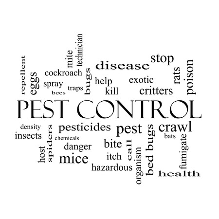 Pest Control Word Cloud Concept in black and white with great terms such as bugs, poison, rates and more. photo