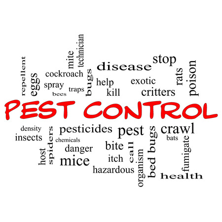 Pest Control Word Cloud Concept in red caps with great terms such as bugs, poison, rates and more. photo