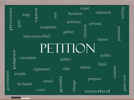 petition: Petition Word Cloud Concept on a Blackboard with great terms such as gather, circulate, signatures and more. Stock Photo