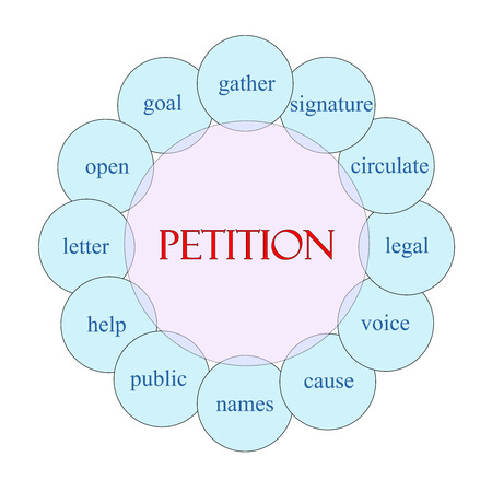 petition: Petition concept circular diagram in pink and blue with great terms such as gather, signature, names and more.