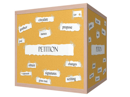 obtain: Petition 3D cube Corkboard Word Concept with great terms such as names, sign, obtain and more. Stock Photo