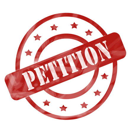 petition: A red ink weathered roughed up circles and stars stamp design with the word PETITION on it making a great concept.