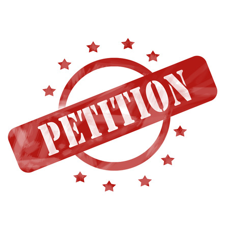 petition: A red ink weathered roughed up circle and stars stamp design with the word PETITION on it making a great concept.
