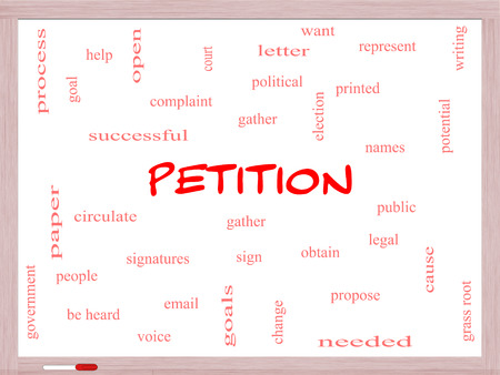 Petition Word Cloud Concept on a Whiteboard with great terms such as gather, circulate, signatures and more. photo