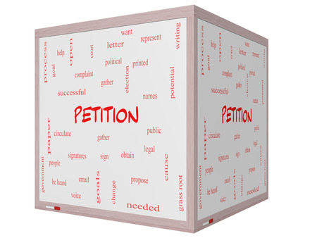 obtain: Petition Word Cloud Concept on a 3D cube Whiteboard with great terms such as gather, circulate, signatures and more.