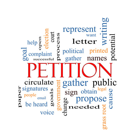 Petition Word Cloud Concept with great terms such as gather, circulate, signatures and more. photo