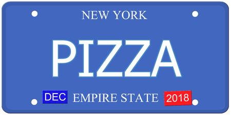 Een imitatie kentekenplaat uit New York met het woord PIZZA en Empire State maakt een geweldig concept.