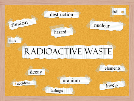tailings: Radioactive Waste Corkboard Word Concept with great terms such as fuel, fission, hazard and more.