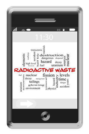 fission: Radioactive Waste Word Cloud Concept of Touchscreen Phone with great terms such as nuclear, fission, accident and more. Stockfoto