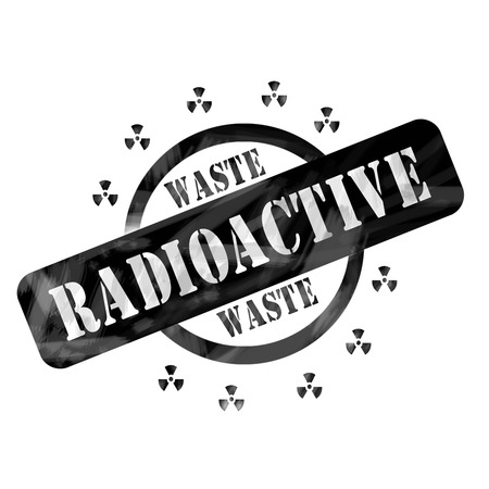 A black ink weathered roughed up circle and symbols stamp design with the words RADIOACTIVE WASTE on it making a great concept.