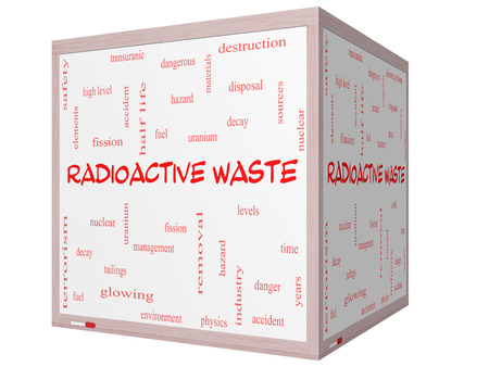 fission: Radioactive Waste Word Cloud Concept on a 3D cube Whiteboard with great terms such as fission, nuclear, fuel and more.