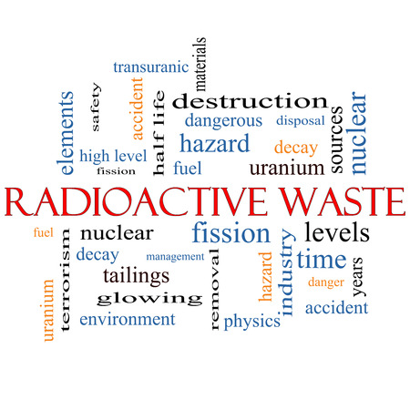 nuclear waste disposal: Radioactive Waste Word Cloud Concept with great terms such as fission, nuclear, fuel and more. Stock Photo