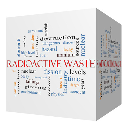 nuclear waste disposal: Radioactive Waste 3D cube Word Cloud Concept with great terms such as fission, nuclear, fuel and more.