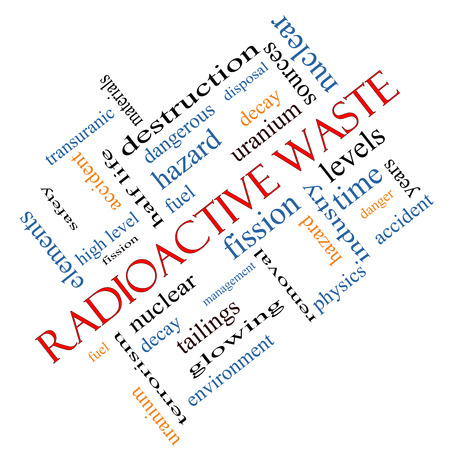 nuclear waste disposal: Radioactive Waste Word Cloud Concept angled with great terms such as fission, nuclear, fuel and more.