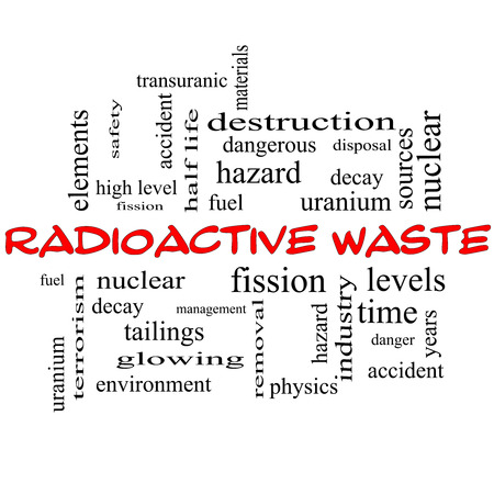 fission: Radioactive Waste Word Cloud Concept in red caps with great terms such as fission, nuclear, fuel and more. Stock Photo