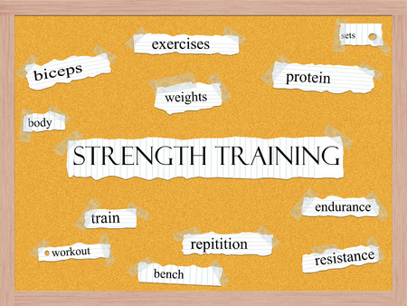 Strength Training Corkboard Word Concept with great terms such as exercises, sets, protein and more. photo