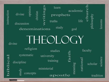 神学研究、宗教、神などの大きい言葉で黒板に単語雲概念。