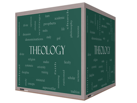 theology: Theology Word Cloud Concept on a 3D cube Blackboard with great terms such as study, religion, God and more.
