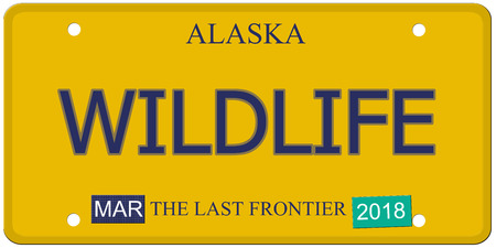 Een imitatie Alaska kenteken met het woord wilde dieren en de Last Frontier het maken van een geweldig concept.