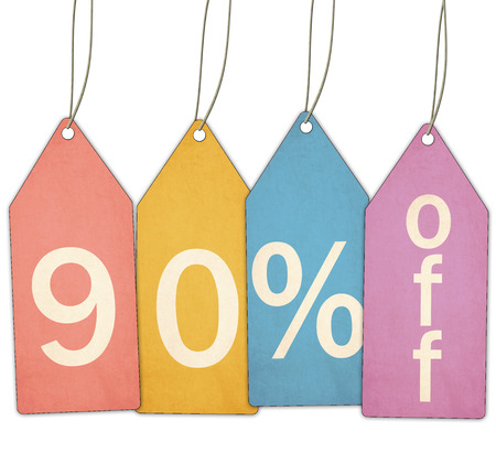 Red, yellow, blue, and purple textured sale tags show Ninety Percent Off making a great concept.