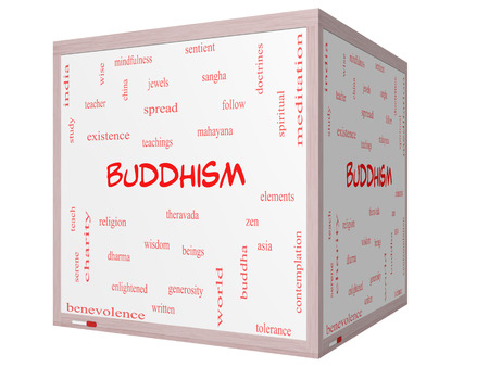 spiritual beings: Buddhism Word Cloud Concept on a 3D cube Whiteboard with great terms such as religion, teachings, zen and more.