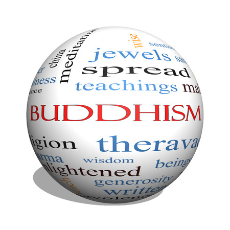 spiritual beings: Buddhism 3D sphere Word Cloud Concept with great terms such as religion, teachings, zen and more.