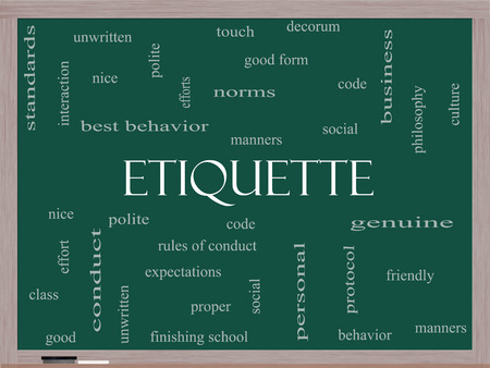 genuine good: Etiquette Word Cloud Concept on a Blackboard with great terms such as manners, polite, social and more.