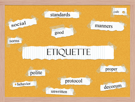 Etiquette Corkboard Word Concept with great terms such as social, manners, code and more.