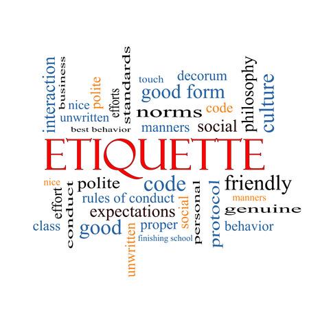 Etiqueta Palabra Nube Concepto con los términos como los modales, educado, sociales y más.