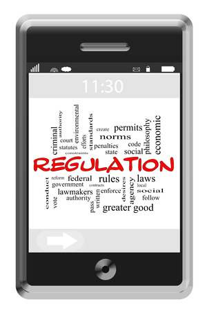 government regulations: Regulation Word Cloud Concept of Touchscreen Phone with great terms such as federal, rules, follow and more. Stock Photo