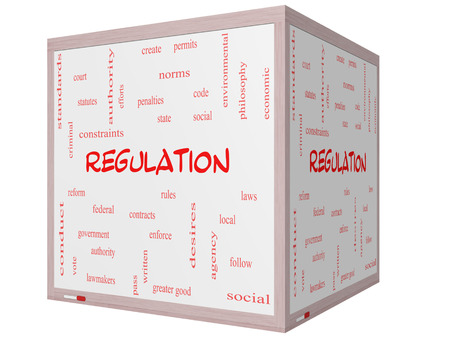 government regulations: Regulation Word Cloud Concept on a 3D cube Whiteboard with great terms such as rules, enforce, government and more. Stock Photo