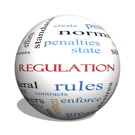 government regulations: Regulation 3D sphere Word Cloud Concept with great terms such as rules, enforce, government and more.