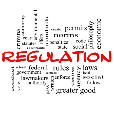 Regulation Word Cloud Concept in red caps with great terms such as rules, enforce, government and more. photo