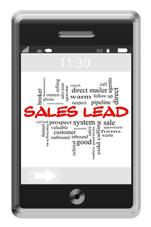 Sales Lead Word Cloud Concept of Touchscreen Phone with great terms such as prospect, sell, pipeline and more. photo