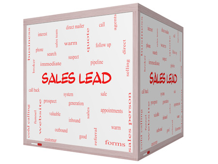 Sales Lead Word Cloud Concept on a 3D cube Whiteboard with great terms such as prospect, quote, funnel and more. photo
