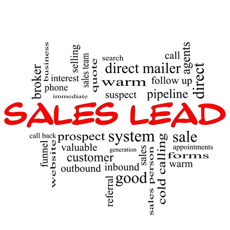 Sales Lead Word Cloud Concept in red caps with great terms such as prospect, quote, funnel and more. photo