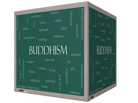 Buddhism Word Cloud Concept on a 3D cube Blackboard with great terms such as religion, teachings, zen and more.