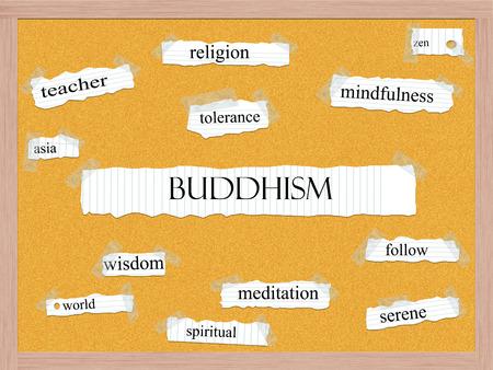 tolerancia: Budismo Corkboard Palabra Concepto con los términos tales como el zen, el maestro, la religión y mucho más.