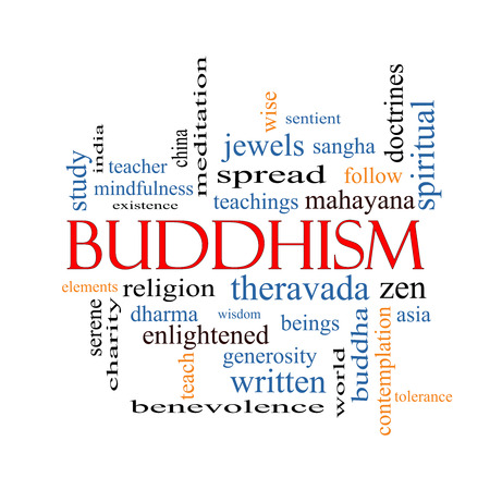 spiritual beings: Buddhism Word Cloud Concept with great terms such as religion, teachings, zen and more. Stock Photo